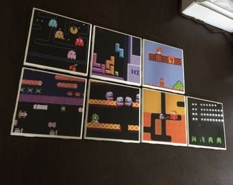 1980s Video Games Atari (7) full set - Tile Coasters hand-made great gift for anyone into old school gaming. Pac-Man Mario etc
