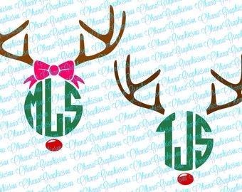 Super Cute Reindeer Girl and Boy Monogramming SVG with Circle Monogramming Font included