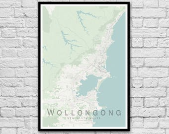 Wollongong NSW City Street Map Print | Wall Art Poster | Wall decor | A3 A2