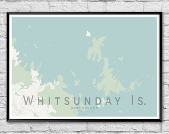 Whitsunday Islands QLD Street Map Print | Wall Art Poster | Wall decor | A3 A2