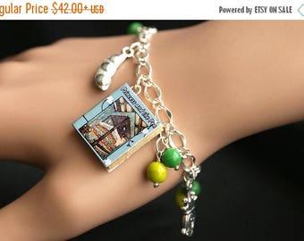 BACK to SCHOOL SALE Princess and the Pea Bracelet. Hans Christian Andersen Charm Bracelet. Fantasy Bracelet. Story Book Bracelet. Silver Bra