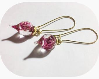 Pink Dried Flower Earrings