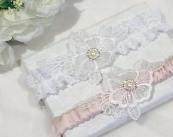 Lace Garter Set, Blush Bridal Garter, Lace Wedding Garter Set, Satin Garter, Ivory Lace Wedding Garter, Bridal Lingerie, Vintage Garter