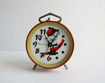 SALE 20% OFF Vintage Soviet Era Alarm Clock Vityaz, Rare Russian Red Table Clock Vitjaz , Russian Red Office Decor Clock - made in USSR 80s