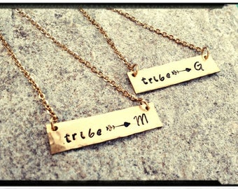 Tribe & Initial - Hand Stamped/Textured Silver Pewter/NuGold Bar Necklace - Friends//Family//Bridesmaid//Shower//Wedding//Party -My tribe