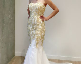 Gold Floral Lace Strapless Mermaid Wedding Dress