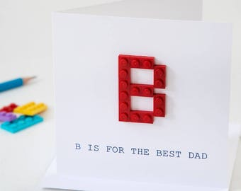 Personalised Building Block Initial Father's Day Card