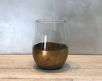 Verigated Bronze and Blackened Bronze Stemless Wine glasses