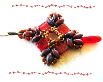 Earrings woven Miuyki, pendant, Ruby Red and old gold