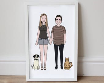 Unique Custom Portrait Clean Look Illustration|Couple|Family|Pets