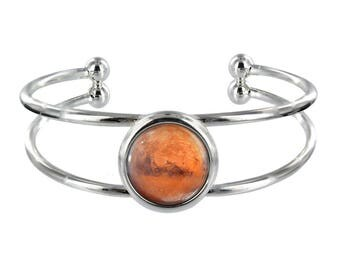 Planet Mars Silver Plated Bangle in Organza Gift Bag