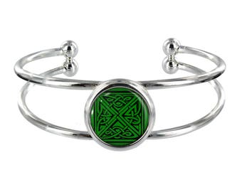 Celtic Pattern On Silver Plated Bangle in Organza Gift Bag