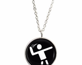 Olympic Handball Pendant and Silver Plated Necklace