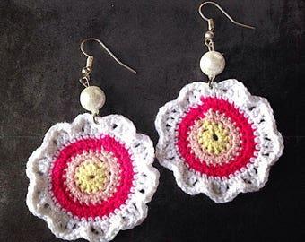 Colorful flower crochet spring earrings