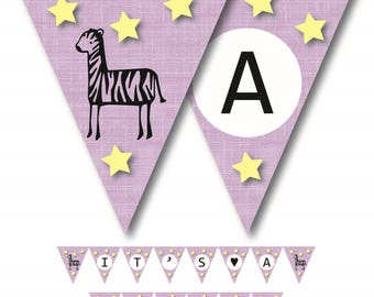 It's a GIRL-Zebra Baby Shower Banner Printable