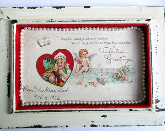 FREE SHIPPING -Vintage Antique Valentine Post Card, Signed Feb 14, 1936, Dutch Children, Cupid, Hearts