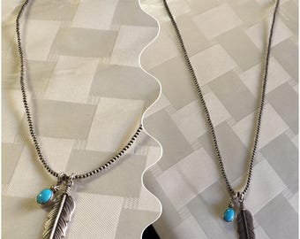 Sterling silver feather bead necklace sleeping beauty turquoise handmade
