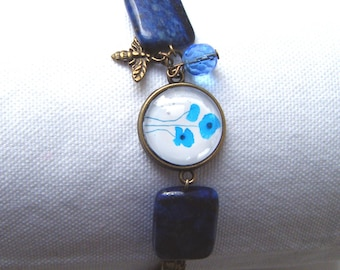 Pretty bracelet lapis lazuli and blue poppies