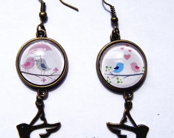 Earrings romantic love birds