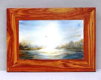 watercolor NELLY No. 1 framed rosewood 36 X 26