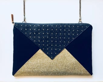 Clutch with detachable chain shoulder strap - model Blackpool