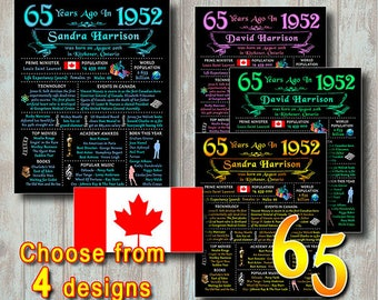65th CANADIAN Chalkboard Birthday Poster, 1952 CANADA Facts, Back In 1952 Birthday Sign Gift, Personalized, Printable Digital File (#521)