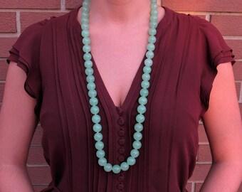 Large naturala jade beads necklace - Natural jade - Jade jewelry - Jade beads