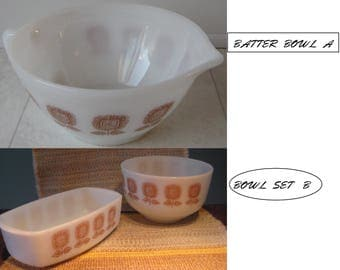 Federal Glass-FEG 21- 2 - White Ovenware   with Brown Sunflower design-1960