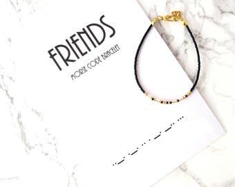 FRIENDS morse code bracelet, BFF morse code, BFF gift, Best Friends gift, minimalist dainty bracelet, simple thin bracelet, wish bracelet