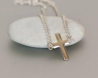 Silver Cross Bracelet, Sterling Silver Bracelet, Minimalist Bracelet, Christmas Gift, Sterling Silver Bracelet, Spiritual Bracelet BS 43
