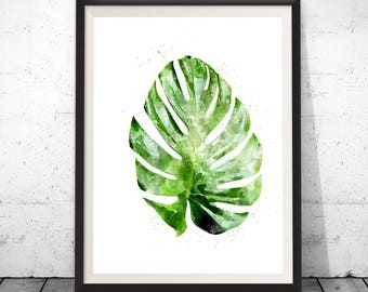 Monstera leaf poster, botanical leaf art, monstera leaf, botanical art, monstera watercolor, botanical poster, leaf art botanical watercolor