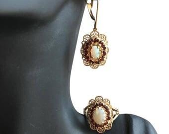 10k garnet and opal set
