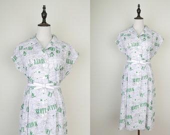 White Vintage Shirt Dress Graphic Map Print Cap Sleeves Size M-L