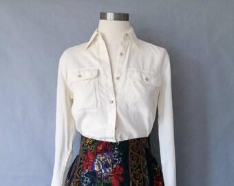 vintage silk blouse/ minimalist silk top/ silk shirt/ women's size XS/S