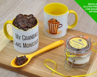 Grandads birthday gift, grandad mug, mug cake kit, Fathers day gift for grandad, chocolate cake mix, cake-in-a-cup, Kilner jar, Grandpa