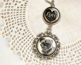 Pug Love pendant necklace
