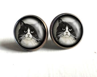 Fluffy black and white cat Stud Earrings- cat earrings, glass cabochon, nickel free brass findings