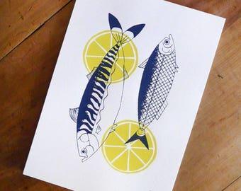 Poster MACKEREL & SARDINE | Print / Art Print / Wall Art / Silkscreen Print / A4 size | MERMADE