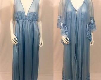 20% Off Summer Sale Vintage Jenelle of California Peingnoir set, Négligée set, Vintage Nightgown, Women's Peignoir Set, Plus Size Lingerie