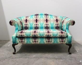 Boho Chic Loveseat, Rehabbed in Custom Designer Fabric