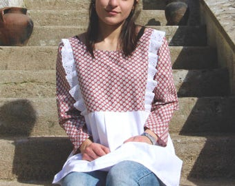 Vintage red and white tunic printed dots, eyelet and Halter