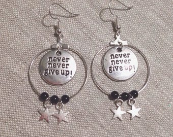 Creole earrings - stars - Never give up - beads
