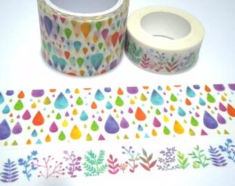 colorful Raindrops washi tape 7m x 3cm teardrops drops pattern wild tape Masking tape rain drops rainbow tear drop shapes sticker tape gift