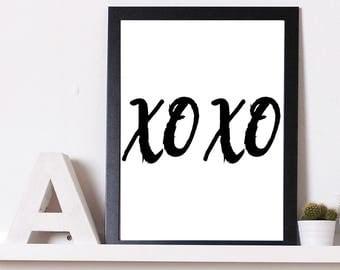 XO Print | Love Print | Wall Art | Gifts for her | Foil Print| Home Decor