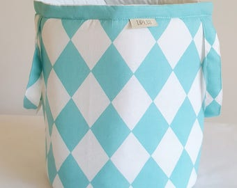 Basket for toys, turquoise, cotton