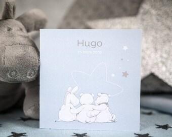 Birth announcement Noukie's collection powder blue stars
