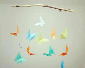 Mobile 12 origami butterflies multicolor, gifts, birthstone, driftwood, nursery, origami, room decoration, butterfly