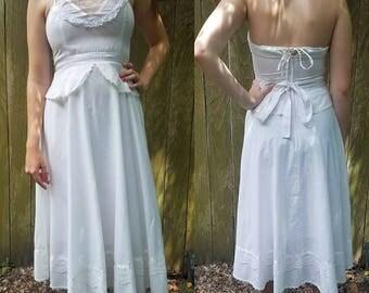 Vintage Gunne Sax dress small xs white lace boho festival summer picknick dress women's clothing dresses vintage dress halter dress