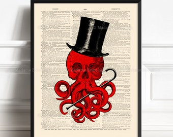 Call Of Cthulhu, Boyfriend Gift Print, Book Lover Poster, HP Lovecraft, Gothic Wall Hanging, Kraken Art Print, Cool Octopus, Weird Art  475