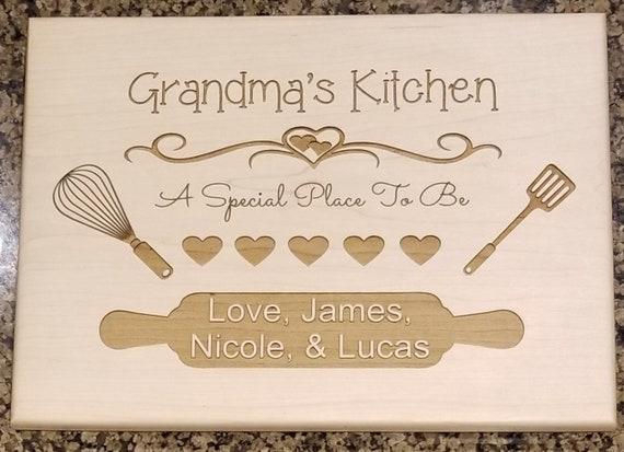 Grandma Cutting Board Personalized Cutting Board Mothers Day Gift for Grandma Grandmas Kitchen Custom Cutting Board Grandma Gift Mothers Day